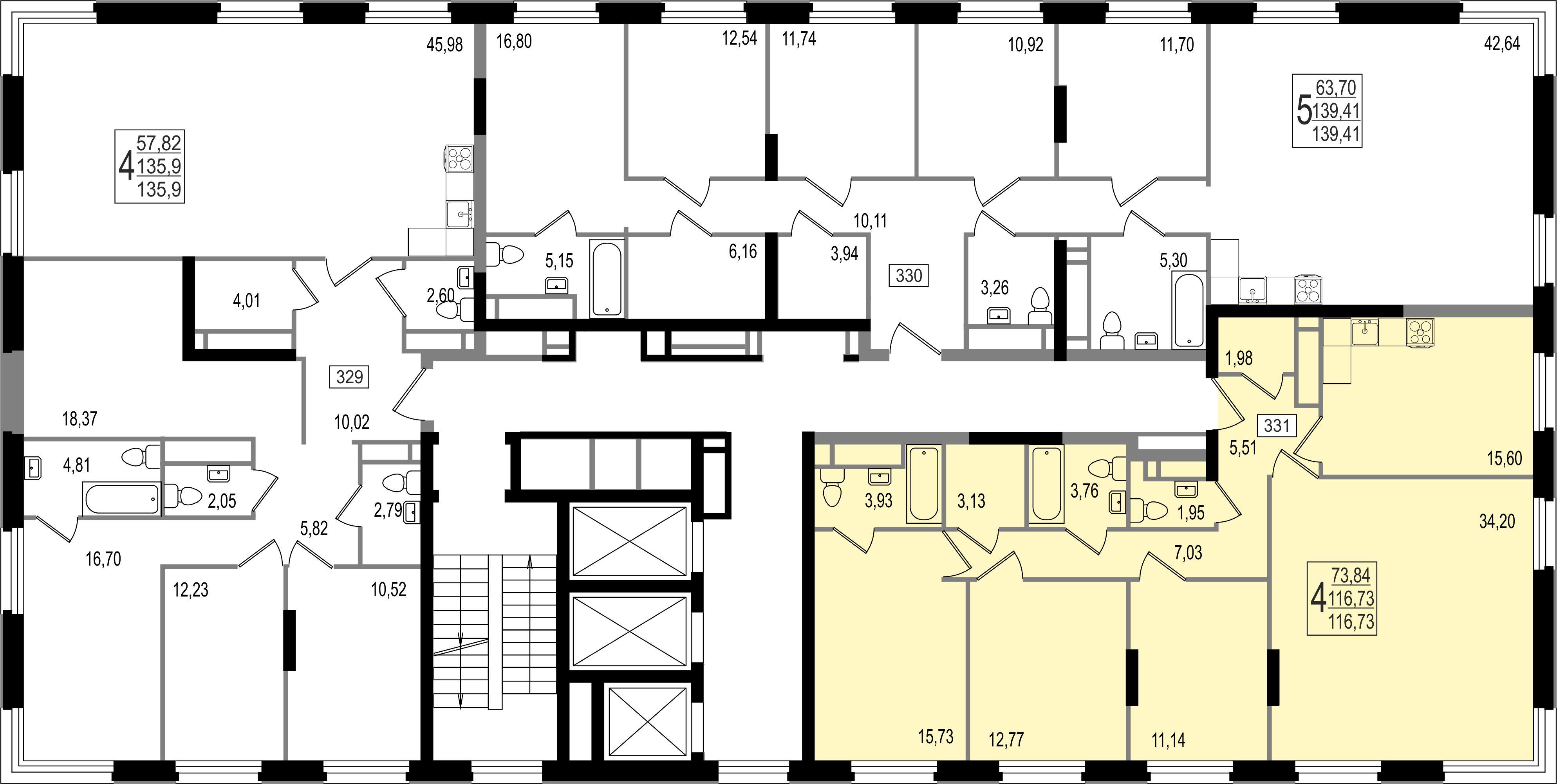 4-комнатная квартира, №157