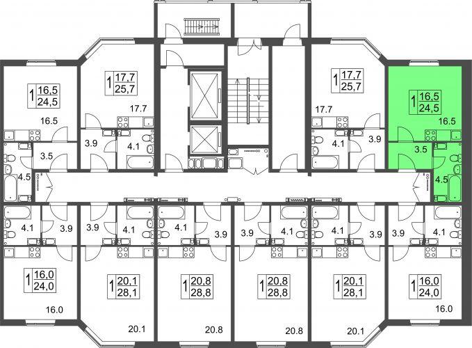 Квартира-студия, 24,5 м² за 1,11 млн руб.
