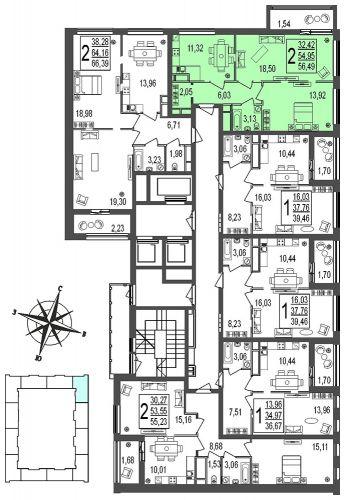 2-комнатная квартира, 54,8 м² за 9,98 млн руб. в ЖК «Город» - расположение в секции