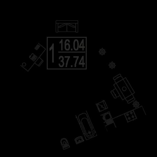 1-комнатная квартира № 18