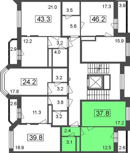1-комнатные апартаменты, 35,2 м² за 2,78 млн руб.