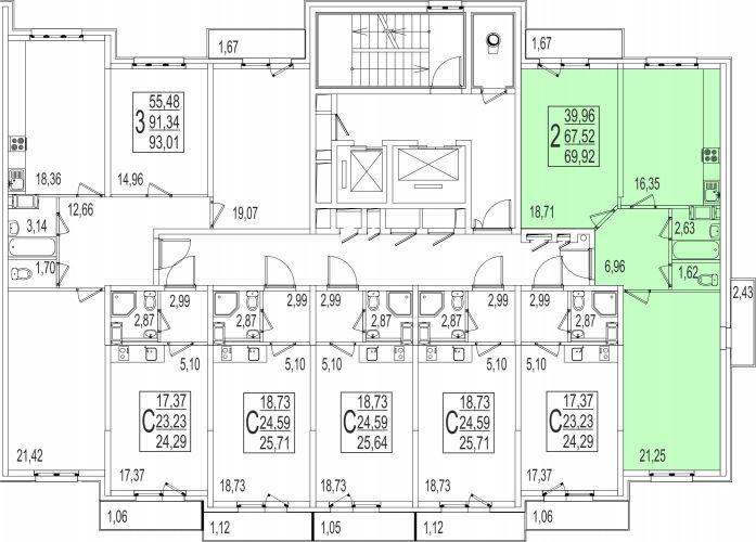 2-комнатная квартира, 69,9 м² за 3,98 млн руб. в ЖК «Андреевка» - расположение в секции