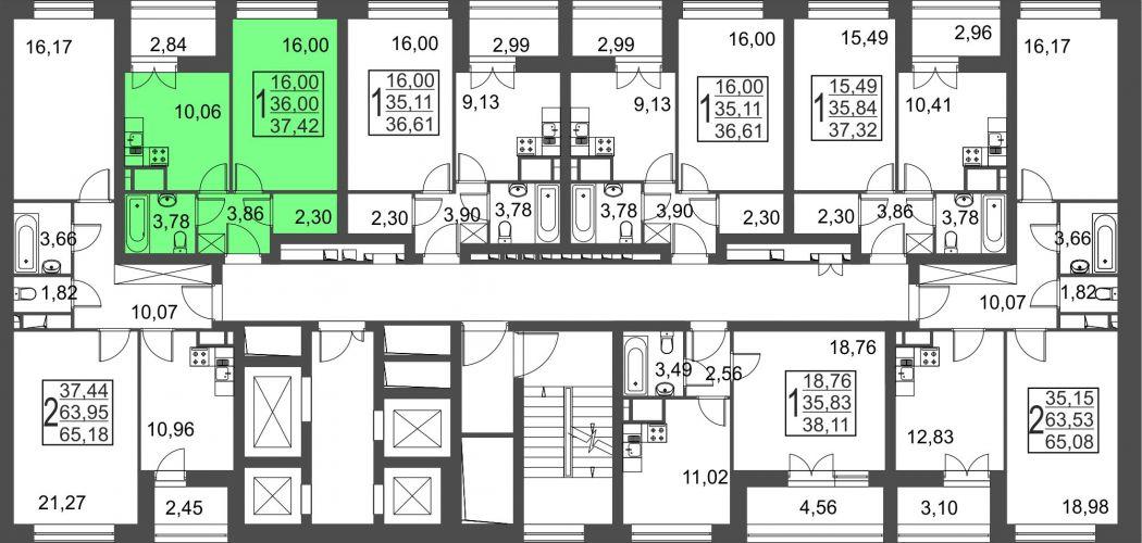 1-комнатная квартира, 37,4 м² за 3,45 млн руб.
